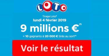 resultat loto 4 Fevrier 2019