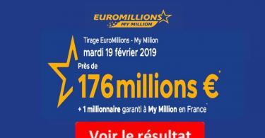resultat euromillion mardi 19 février 2019
