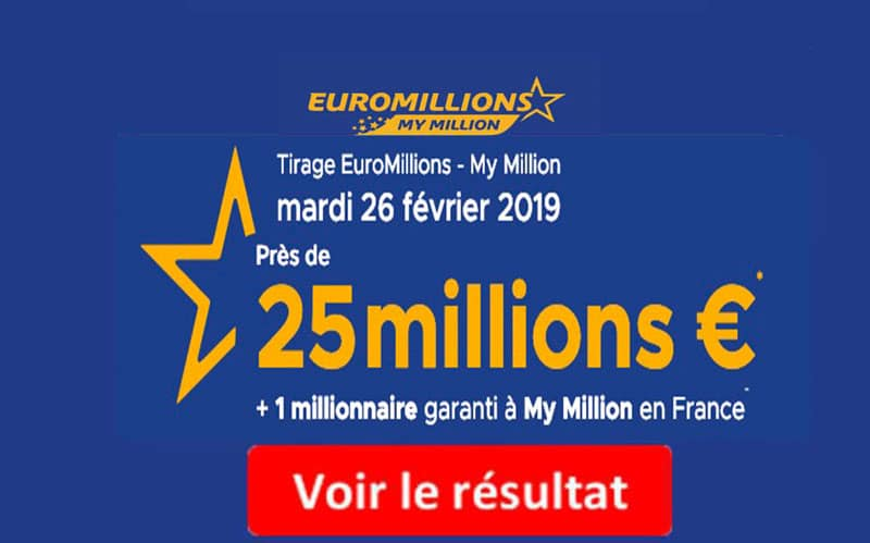 resultat euromillions mardu 25 février 2019