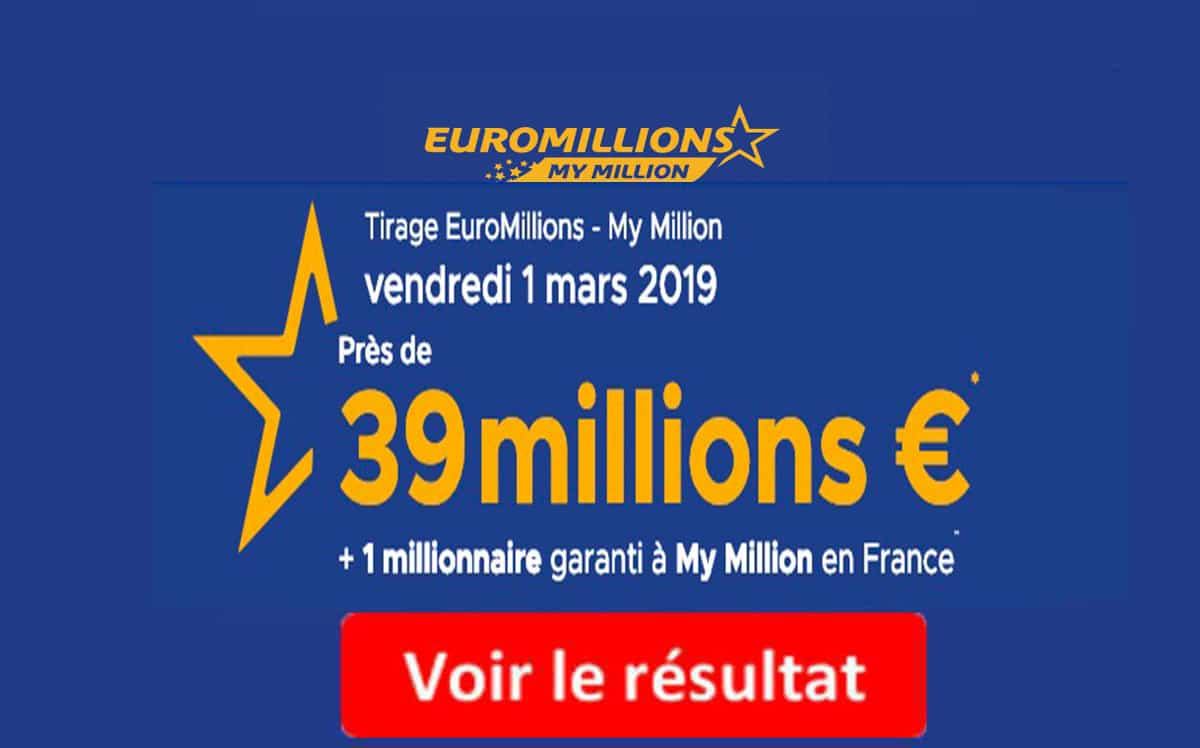 resultat euromillion vendredi 1 mars 2019