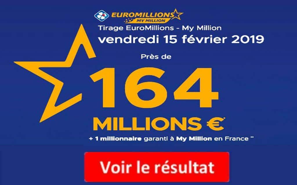 resultat euromillions vendredi 15 février 2019