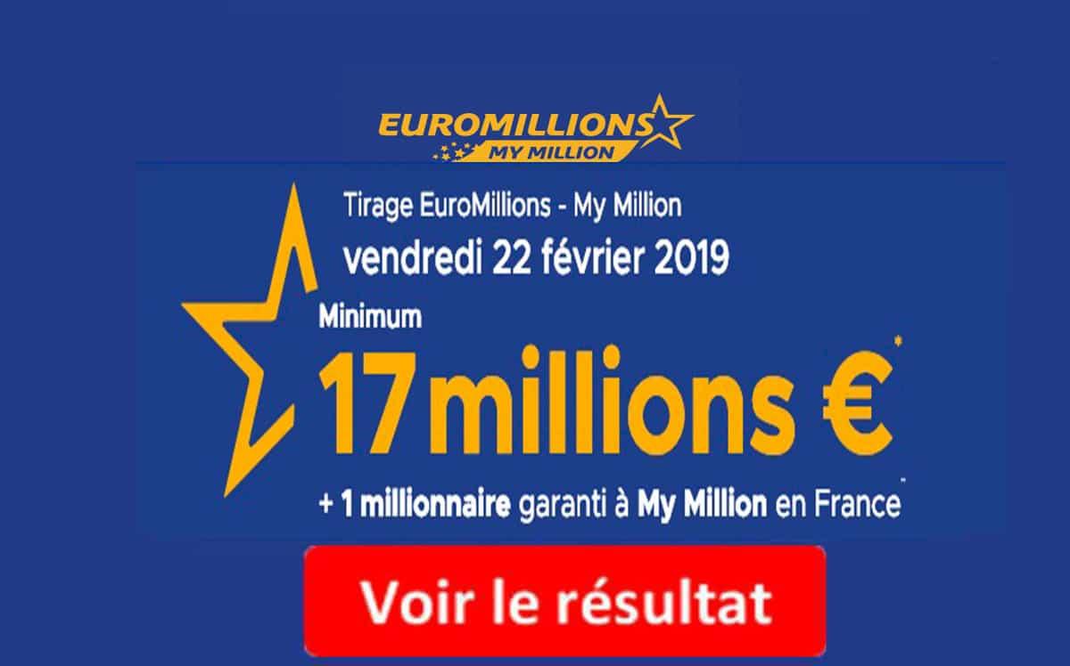 resultat euromillions vendredi 22 fevrier 2019