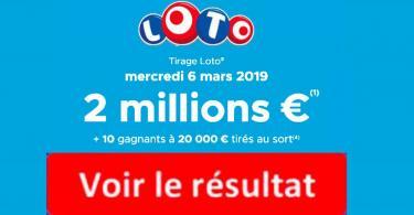 résultat loto 6 mars 2019