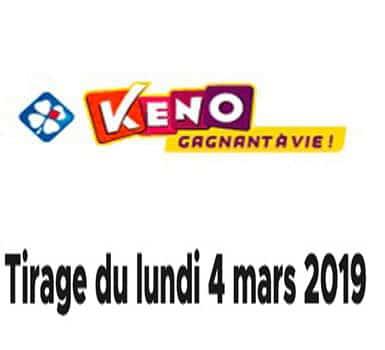 keno 4 mars 2019