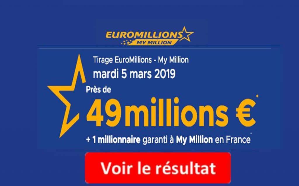resultat euromillion mardi 5 mars 2019