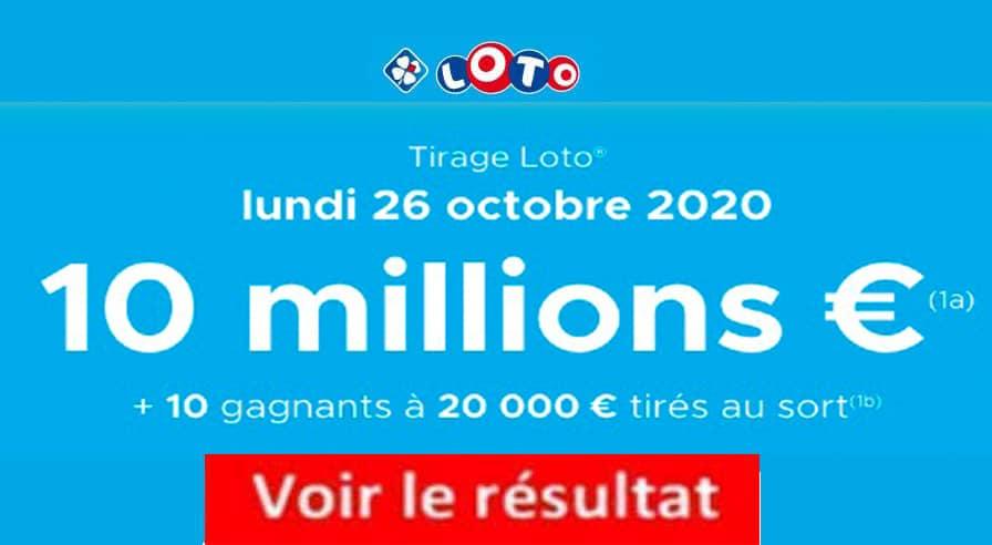 Resultat LOTO 26 octobre 2020 joker+ et codes loto gagnant