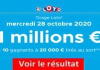 Resultat LOTO 28 octobre 2020 joker+ et codes loto gagnant