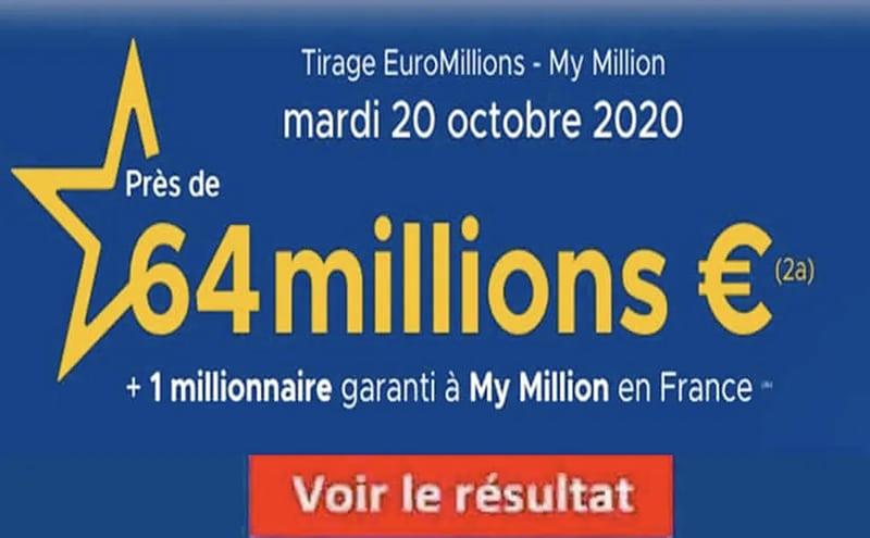 Resultat Euromillions 20 octobre 2020