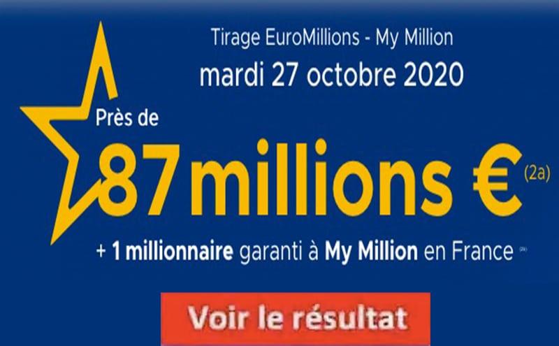 Resultat Euromillions 27 octobre 2020