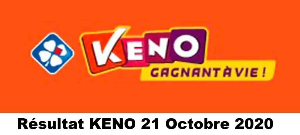 resultat keno 21 octobre 2020 tirage midi et soir