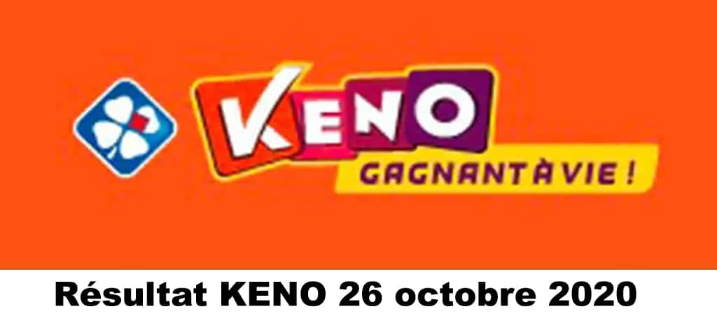 Resultat KENO 26 octobre 2020 tirage midi et soir