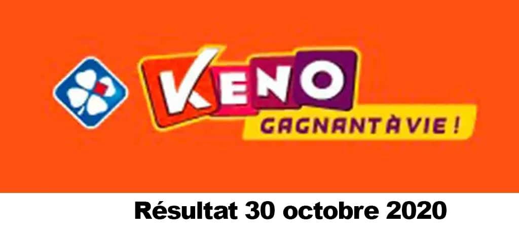 Resultat KENO 30 octobre 2020 tirage midi et soir
