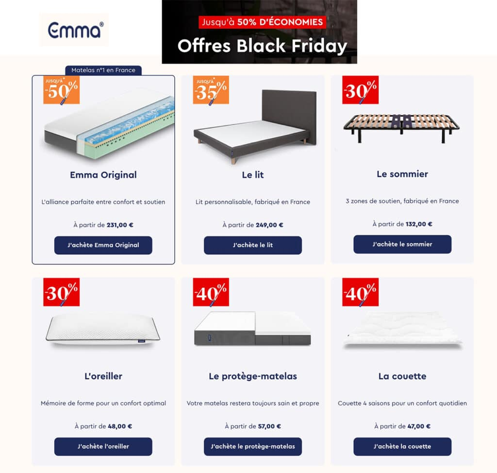 Black Friday Emma Matelas promo