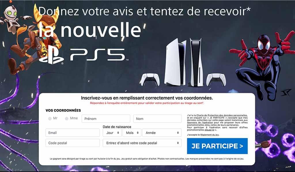 Gagner PS5 gratuitement