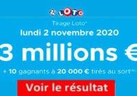 Resultat LOTO 2 Novembre 2020 joker+ et codes loto gagnant