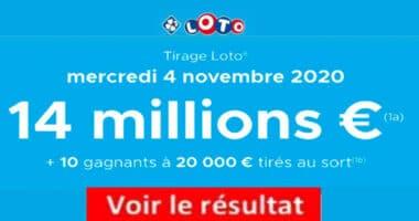 Resultat LOTO 4 Novembre 2020 joker+ et codes loto gagnant