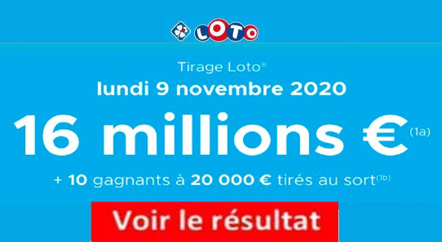 Resultat LOTO 9 Novembre 2020 joker+ et codes loto gagnant