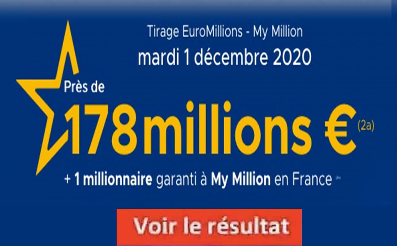 Resultat Euroomillions 1 decembre 2020