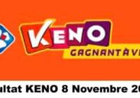 Resultat KENO 8 Novembre 2020 tirage midi et soir