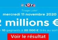 Resultat LOTO 11 Novembre 2020 joker+ et codes loto gagnant