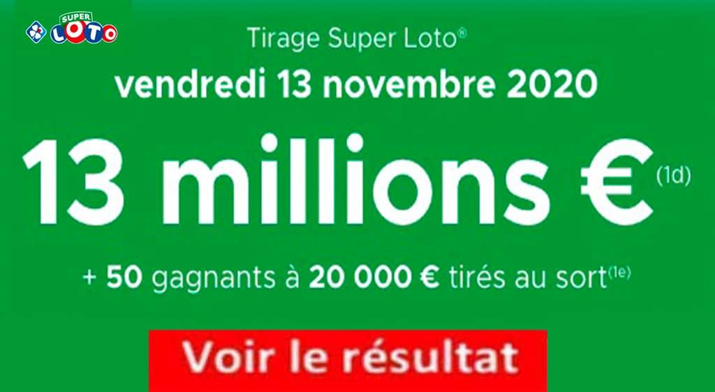 Resultat super LOTO 13 Novembre 2020 joker+ codes loto gagnant