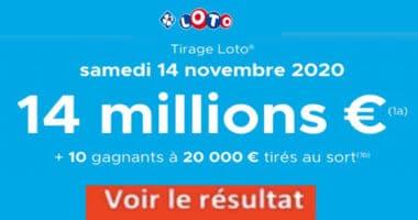 Resultat LOTO 14 Novembre 2020 joker+ et gains codes loto gagnant