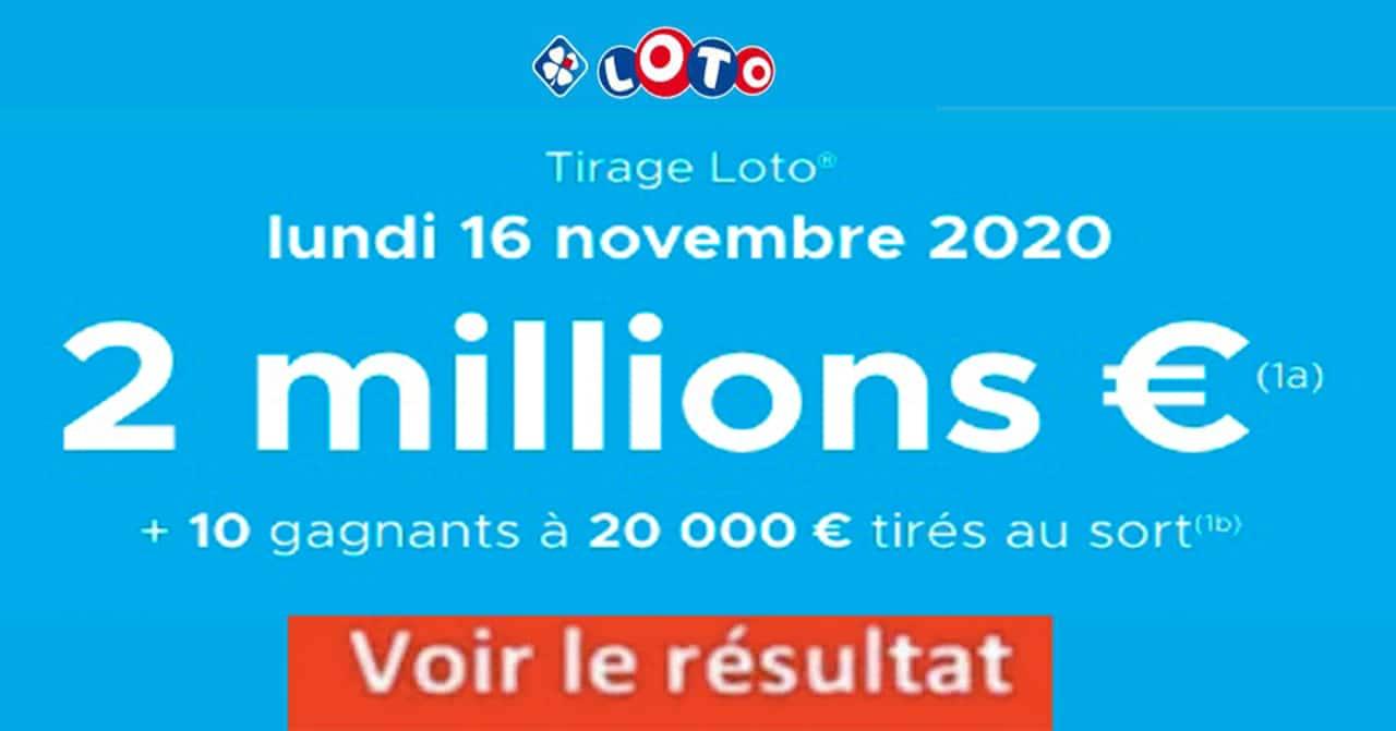 Resultat LOTO 16 Novembre 2020 joker+ et gains codes loto gagnant