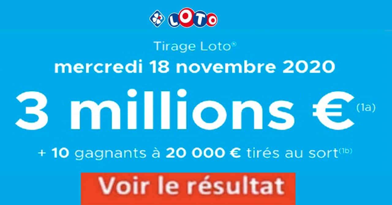 Resultat LOTO 18 Novembre 2020 joker+ et gains codes loto gagnant