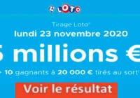 Resultat LOTO 23 Novembre 2020