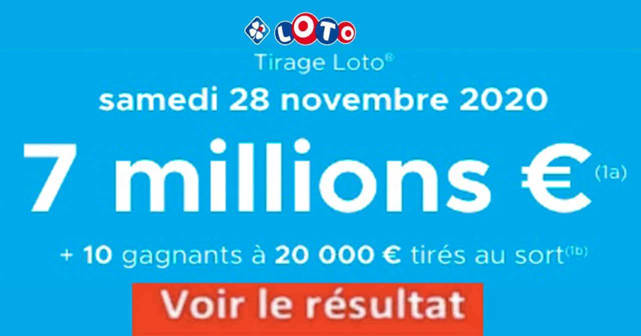 Resultat LOTO 28 Novembre 2020 joker+ codes loto gagnant