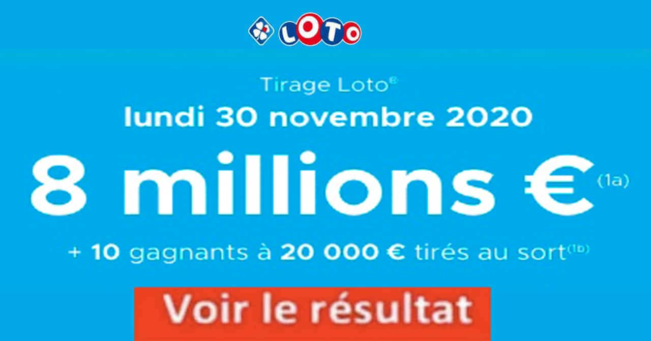 Resultat LOTO 30 Novembre 2020 joker+ et codes loto gagnant
