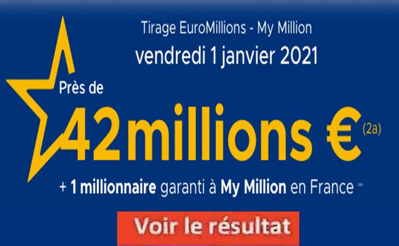 Resultat Euromillion 1 janvier 2021