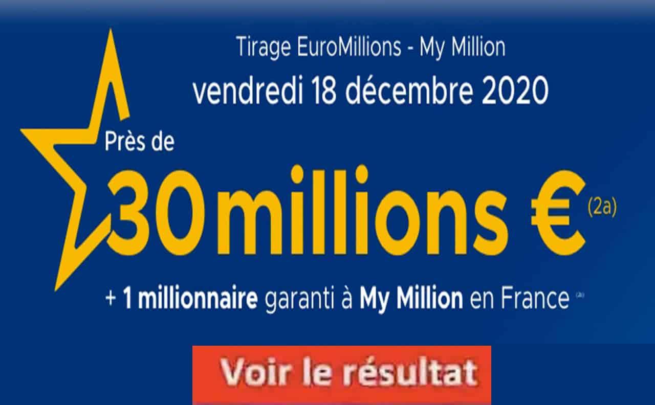 Resultat Euromillion 18 décembre 2020
