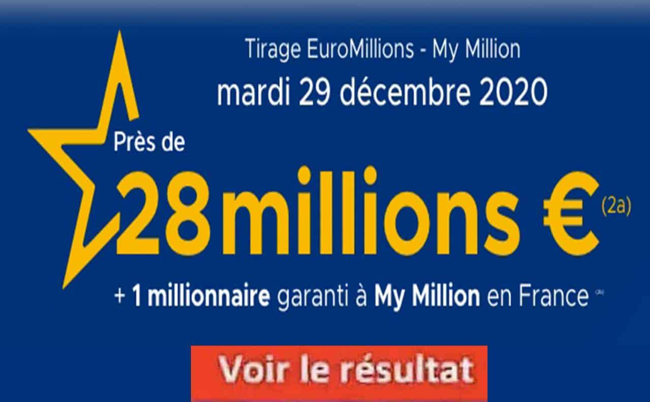 Resultat Euromillion 29 décembre 2020