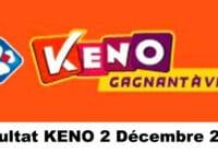 Resultat KENO 2 décembre 2020 tirage midi et soir