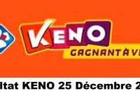Résultat KENO 25 Décembre 2020 tirage midi et soir