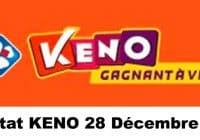 Résultat KENO 28 Décembre 2020 tirage midi et soir