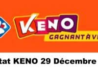 Résultat KENO 29 Décembre 2020 tirage midi et soir