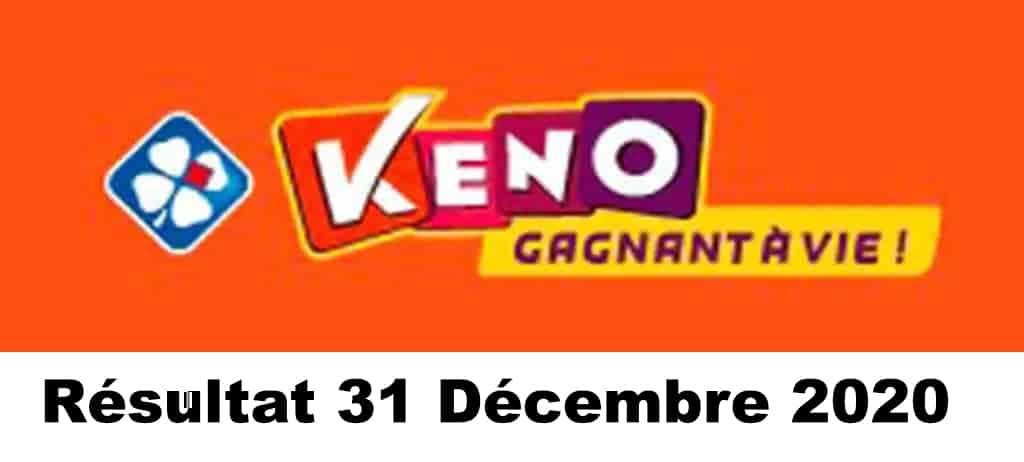 Résultat KENO 31 Décembre 2020 tirage midi et soir