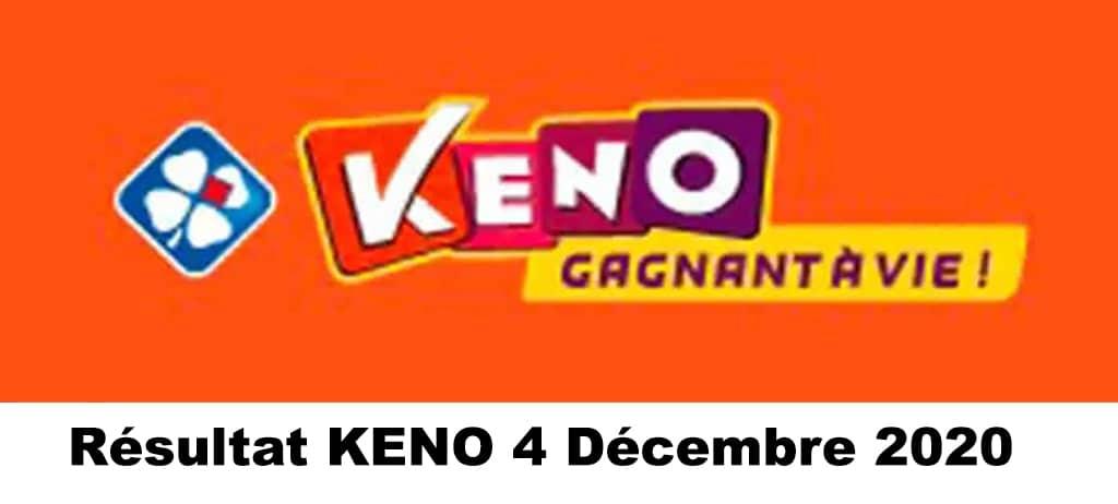 Resultat KENO 4 Décembre 2020 tirage midi et soir