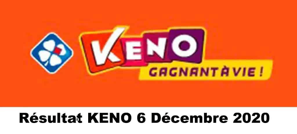 Résultat KENO 6 décembre 2020 tirage midi et soir