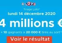 Resultat LOTO 14 décembre 2020 joker+ et codes loto gagnant