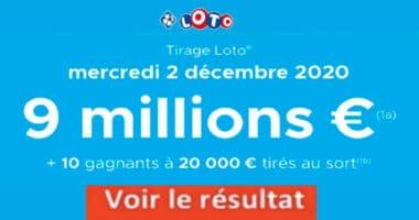Resultat LOTO 2 décembre 2020 joker+ et codes loto gagnant