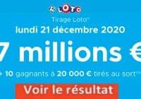 Résultat LOTO 21 Décembre 2020 joker+ et codes loto gagnant