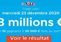 Résultat LOTO 23 Décembre 2020 joker+ et codes loto gagnant