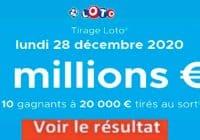 Resultat LOTO 28 Décembre 2020 joker+ et codes loto gagnant
