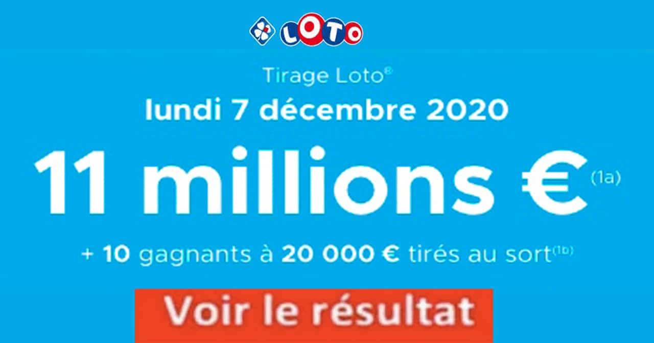 Resultat LOTO 7 décembre 2020 joker+ et codes loto gagnant