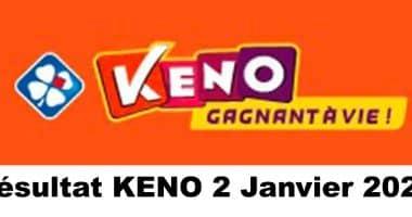 Résultat KENO 2 Janvier 2021 tirage midi et soir