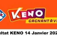 Resultat KENO 14 Janvier 2021 tirage midi et soir