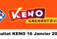 Resultat KENO 16 Janvier 2021 tirage midi et soir